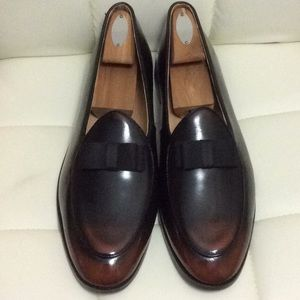 Men's Brown Black Leather Bow tie Loafers